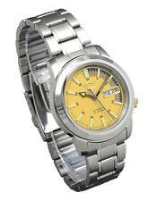 Seiko Automatic SNKK29 SNKK29K1 Men Day Date Gold Dial Stainless Steel Watch