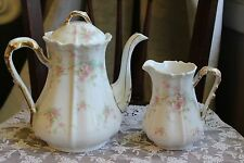 Bawo& Dotter Limoges Elite Coffee/Tea Pot Pink floral pattern bonus small pot