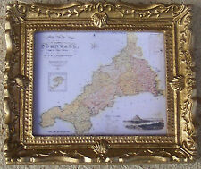 1:12 Scale Framed Picture Print Of An Old Map Of Cornwall Dolls House Art JD