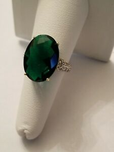 9.50 CT RUSSIAN EMERALD & DIAMOND 10KT SOLID YELLOW GOLD RING SIZE 7