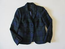 J.Crew SchoolBoy Blazer in Black Watch Navy & Green Plaid Wool Jacket 10 $238