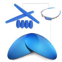 Walleva Ice Blue BL Polarized lenses w Earsocks T-shocks for Oakley Penny