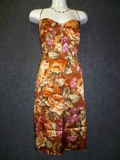 DAVID MEISTER Multi Satin Flower Print Spaghetti Strap Dress SZ 10 NEW