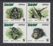 Zaire Sc 1466 Mnh. 1997 Wwf issue cplt, endangered chimpanzees, Vf