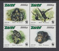 Zaire Sc 1466 MNH. 1997 WWF issue cplt, endangered chimpanzees, VF