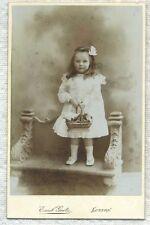 Antique Photo Cabinet Card-Girl Holding A FANCY BASKET-Luzern