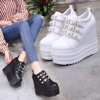 Women Creepers Platform Shoes Lace up Thick Soles Chunky Pumps Oxfords Brogue
