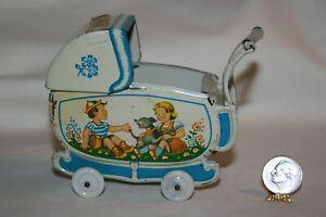 Miniature Dollhouse 1940s Tin Litho Toy Baby Carriage Pram US Zone Germany 1:12