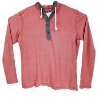 American Rag Basic Red Men's Long Sleeve Henley Hoodie Sweatshirt - Large