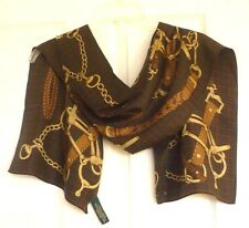 Ralph Lauren Very Elegant Belts Chain Design 100% Luxurious Silk Scarf, NWT!