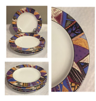 "Vintage SAKURA Stoneware 8"" Plates MASQUERADE (1992) INDONESIA Set of 4"