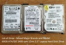 "(Lot of 3) mixed Major Brands 60GB ATA/IDE 5400 rpm 12ms Int. 2.5"" Laptop HDD"