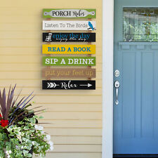 """Glitzhome 36""""H Oversized Rustic Wooden Slats Porch Rules Sign Garden Wall Decor"""