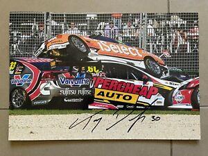 ORIGINAL SIGNED SUPERCARS PHOTO 12x8: TAZ DOUGLAS AGP 2012 CRASH