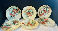 6 Excellent Limoges Hand Painted Desert Plates Cherries Gold Artist Signed