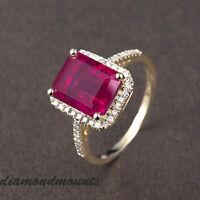 Genunine 14k Solid Yellow Gold Blood Ruby Natural Diamond Wedding Ring