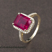 Genunine 14k Solid Yellow Gold Blood Ruby Natural Diamond Wedding Ring