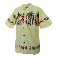 Men Aloha Shirt Cruise Tropical Luau Party Hawaiian Yellow Surf Board Palm Tress