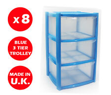 8 X 3 DRAWER PLASTIC STORAGE DRAWER - CHEST UNIT - TOWER - WHEELS - TOYS - BLUE