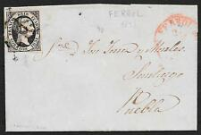 Spain covers 1851 YV 6 folded letter FERROL in red to Puebla