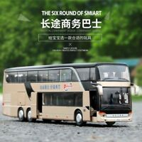 Alloy Bus Pull Back Model Cute Night View Collectible Die Cast Double
