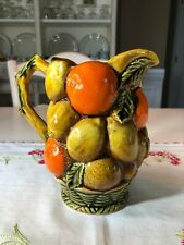 Vintage Inarco Ceramic Embossed Fruit Pitcher, Oranges & Lemons Japan