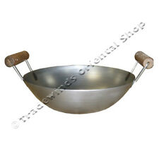 "HANCOCK 12"" DOUBLE HANDLE FLAT BASED CARBON STEEL WOK - COMMERCIAL QUALITY"