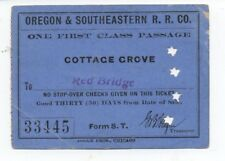 1913 Ticket the Oregon & Southeastern Railroad Co Cottage Grove to Red Bridge