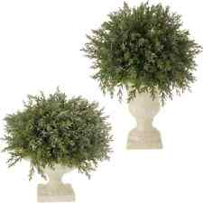 """Set of 2 Christmas Frosted Evergreen Topiary 12"""" RAZ  Urn 3506179"""