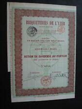ACTION BRIQUETERIE DE L YZER  1919  FURNES