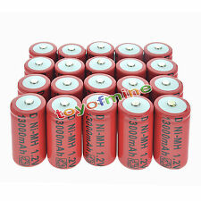 20x D size 1.2V 13000mAh Ni-MH Red Color Rechargeable Battery USA