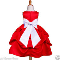 Red Christmas Holiday Wedding Flower Girl Pick Up Dress 6M 12M 18M 2 4 6 8 10 12