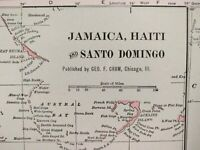 "Vintage 1901 JAMAICA HAITI Map 14""x11"" Old Antique Historical KINGSTON CUBA MAPZ"