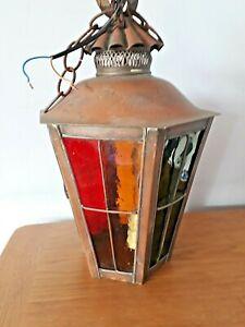 Lovely  Vintage Outside Copper Lantern, Coloured Glass Panels