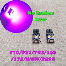 License Plate Light T10 15 SMD LED Wedge Bulb 194 2825 168 12961 W5W Purple W1 E