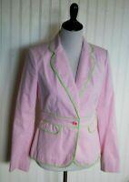 Lilly Pulitzer Blazer size 6 Pink White Stripe Green Trim Cotton Blend Lined