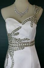 $400 TERANI Couture P722 One Shoulder Prom Formal Evening Gown Ivory Size 6 Long