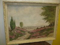 20TH CENTURY OIL ON CANVAS A VIEW OF RURAL LANDSCAPE BY H. KERVER