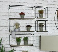 Black Wire & Wood Cube Shelves Set of 4 Home Decor