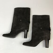 94a81a2c215 Tahari Harper Size 8 M Brown Suede Womens Foldover Boots Career