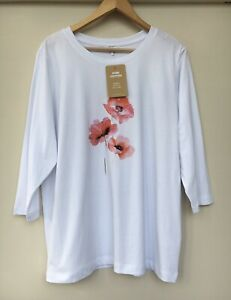 Ladies White - Cotton Traders Floral / Poppy Motif Long Sleeve T Shirt Size 20