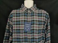 NWT Croft & Barrow Blue gray plaid flannel long sleeve Shirt Men's S