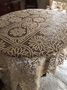 Amazing Vintage Hand Made Tape Lace Tablecolth