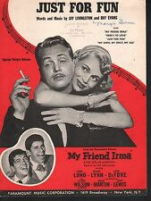 Just For Fun 1949 My Friend Irma Dean Martin Jerry Lewis Sheet Music