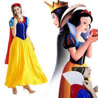 Snow White Women Costume Princess Dress w/Petticoat & Headband Halloween Cosplay