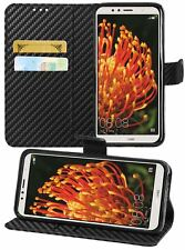 Case for Huawei Honor 7A, Carbon Fiber Wallet Flip Case Cover + Tempered Glass