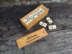 c1960's Vintage Ballantine's Scotch Whisky Set Of Dominoes + Wooden Case