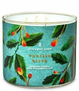 Bath  Body Works Vanilla Birch 3 Wick Large Candle 14.5 oz Favorite Home Scent