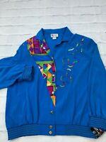 NEW Maggie Sweet Women's XL Light Weight Button Up Geometric Blue Bomber Jacket