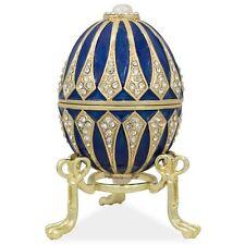 Vintage Hand Made Blue Enamel Pewter Jeweled Faberge Easter Egg w/Gift Box